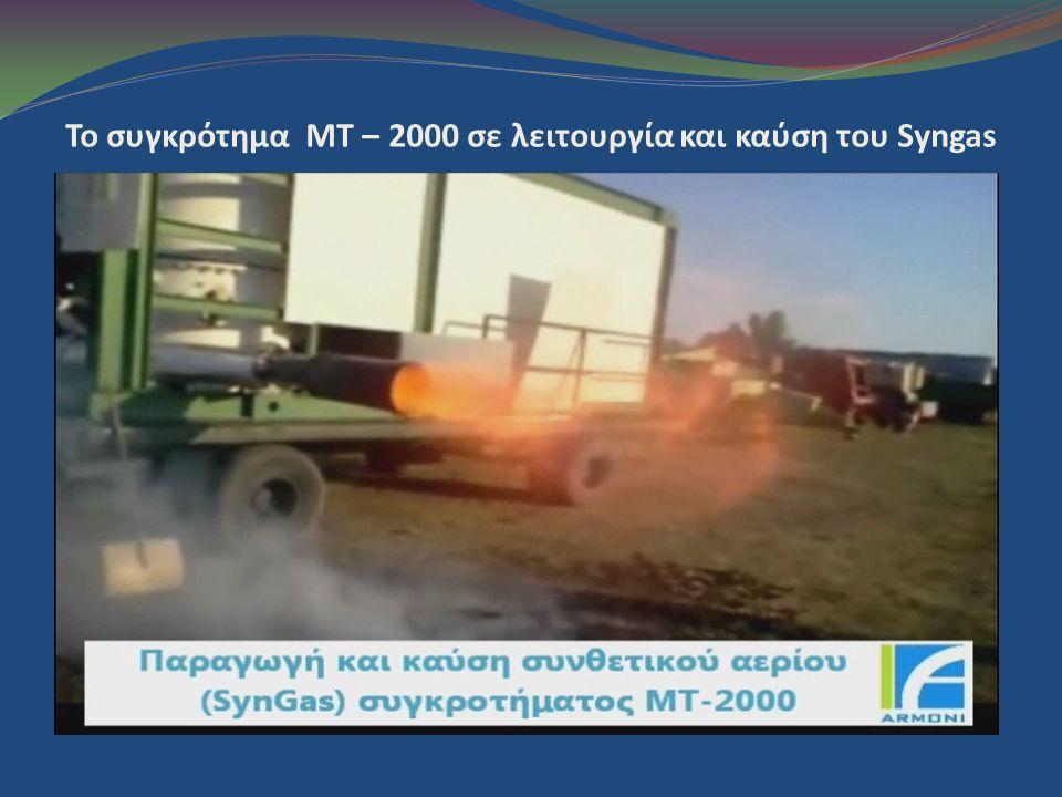 To συγκρότημα MT – 2000 σε λειτουργία και καύση του Syngas
