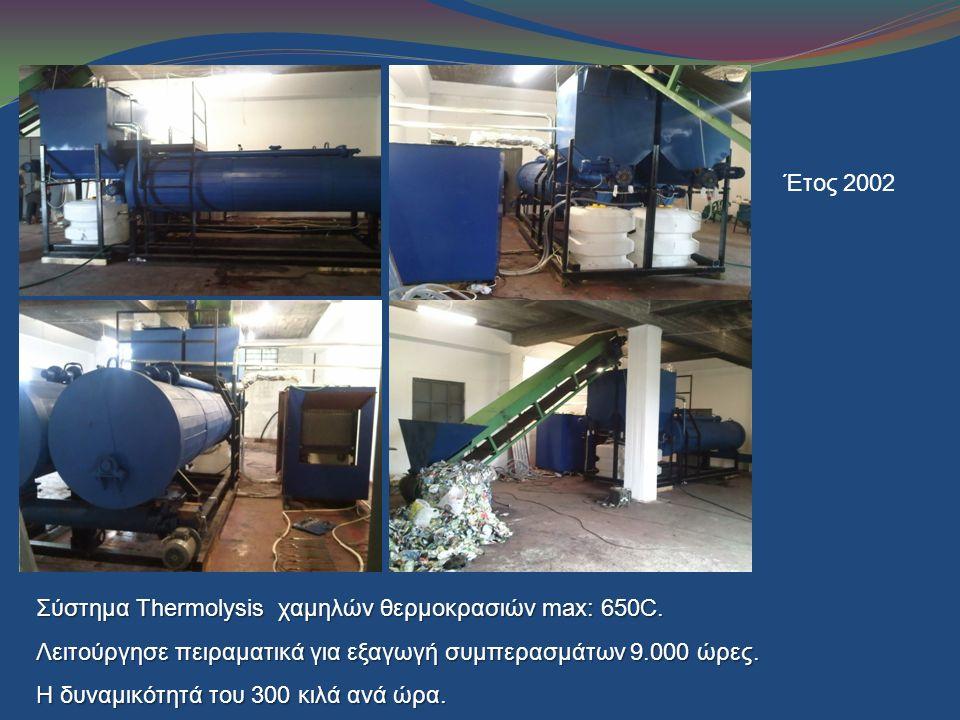 Έτος 2002 Σύστημα Thermolysis χαμηλών θερμοκρασιών max: 650C. Λειτούργησε πειραματικά για εξαγωγή συμπερασμάτων 9.000 ώρες. Η δυναμικότητά του 300 κιλ