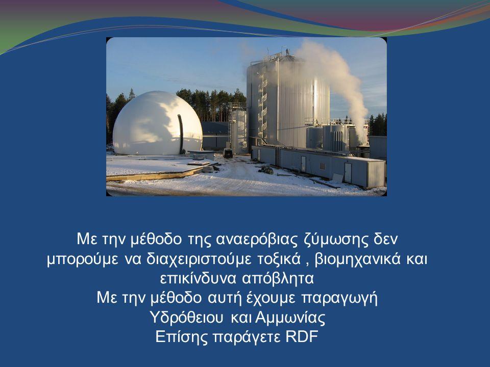Με την μέθοδο της αναερόβιας ζύμωσης δεν μπορούμε να διαχειριστούμε τοξικά, βιομηχανικά και επικίνδυνα απόβλητα Με την μέθοδο αυτή έχουμε παραγωγή Υδρ