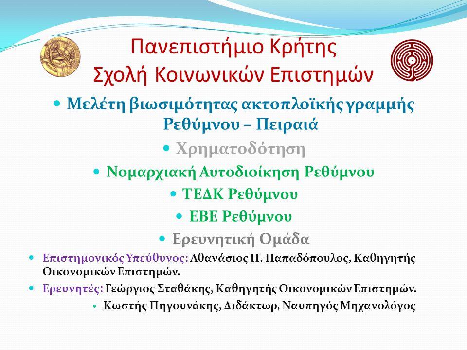 Πανεπιστήμιο Κρήτης Σχολή Κοινωνικών Επιστημών Μελέτη βιωσιμότητας ακτοπλοϊκής γραμμής Ρεθύμνου – Πειραιά Χρηματοδότηση Νομαρχιακή Αυτοδιοίκηση Ρεθύμνου ΤΕΔΚ Ρεθύμνου ΕΒΕ Ρεθύμνου Ερευνητική Ομάδα Επιστημονικός Υπεύθυνος: Αθανάσιος Π.