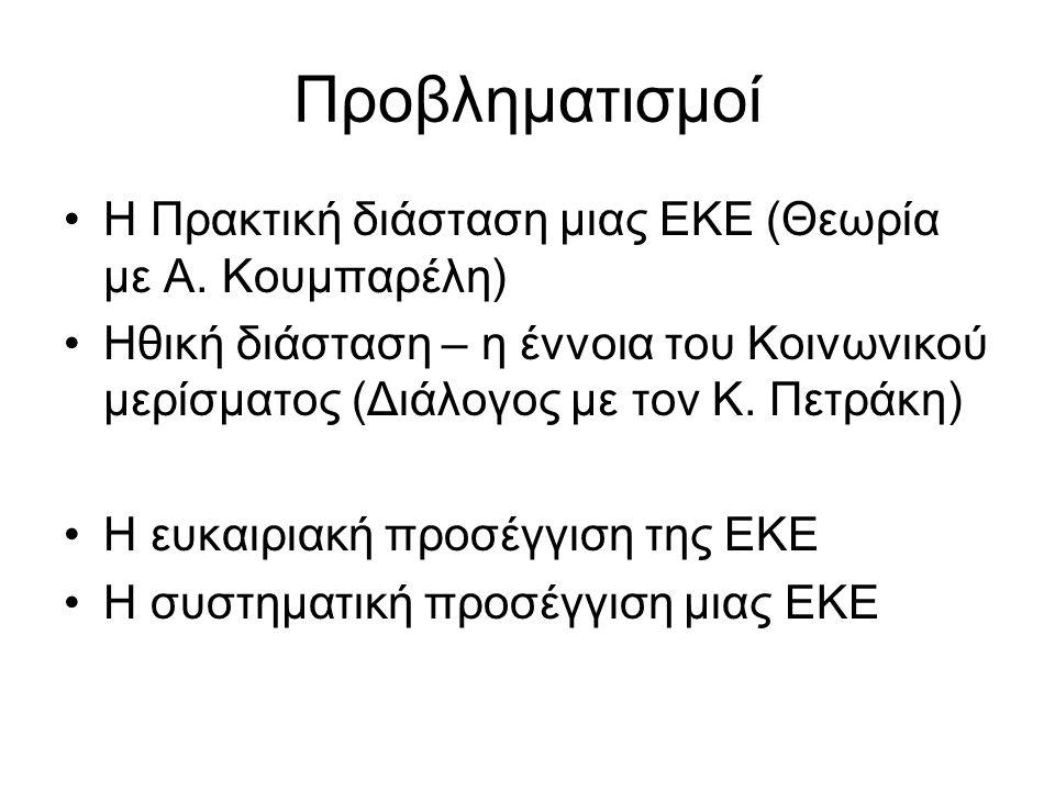 Προβληματισμοί Η Πρακτική διάσταση μιας ΕΚΕ (Θεωρία με Α.