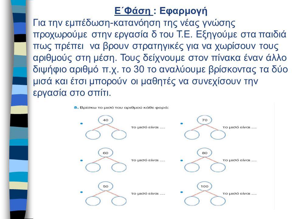 Ε΄Φάση : Εφαρμογή Για την εμπέδωση-κατανόηση της νέας γνώσης προχωρούμε στην εργασία δ του Τ.Ε.