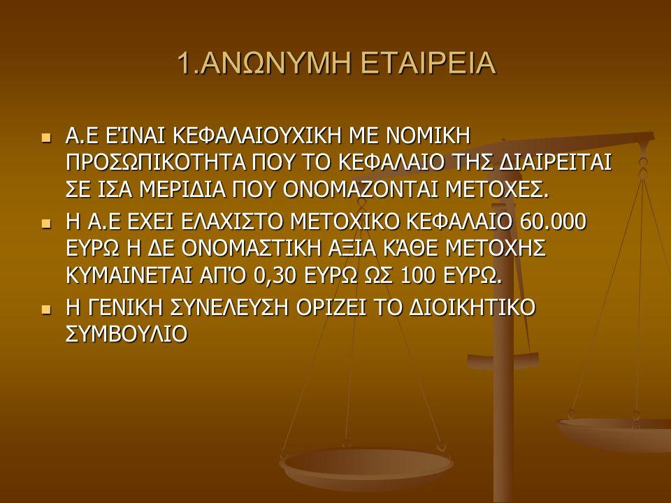 1.ΑΝΩΝΥΜΗ ΕΤΑΙΡΕΙΑ Α.Ε ΕΊΝΑΙ ΚΕΦΑΛΑΙΟΥΧΙΚΗ ΜΕ ΝΟΜΙΚΗ ΠΡΟΣΩΠΙΚΟΤΗΤΑ ΠΟΥ ΤΟ ΚΕΦΑΛΑΙΟ ΤΗΣ ΔΙΑΙΡΕΙΤΑΙ ΣΕ ΙΣΑ ΜΕΡΙΔΙΑ ΠΟΥ ΟΝΟΜΑΖΟΝΤΑΙ ΜΕΤΟΧΕΣ. Α.Ε ΕΊΝΑΙ ΚΕ
