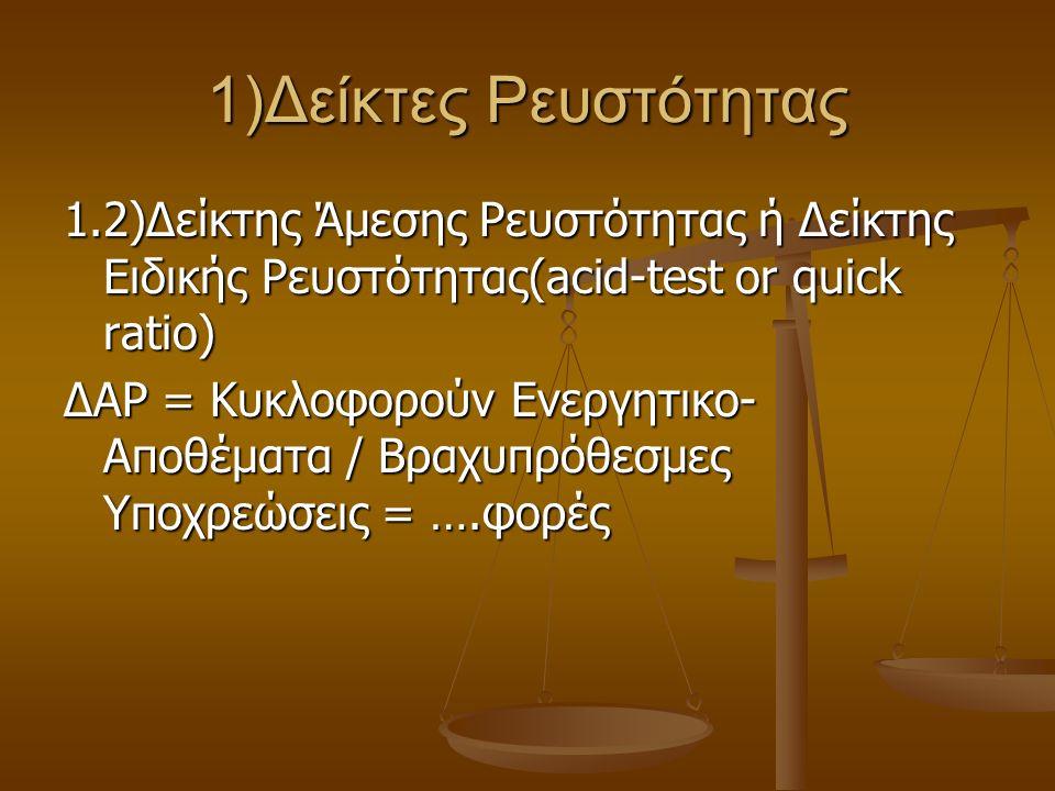1)Δείκτες Ρευστότητας 1.2)Δείκτης Άμεσης Ρευστότητας ή Δείκτης Ειδικής Ρευστότητας(acid-test or quick ratio) ΔΑΡ = Κυκλοφορούν Ενεργητικο- Αποθέματα /