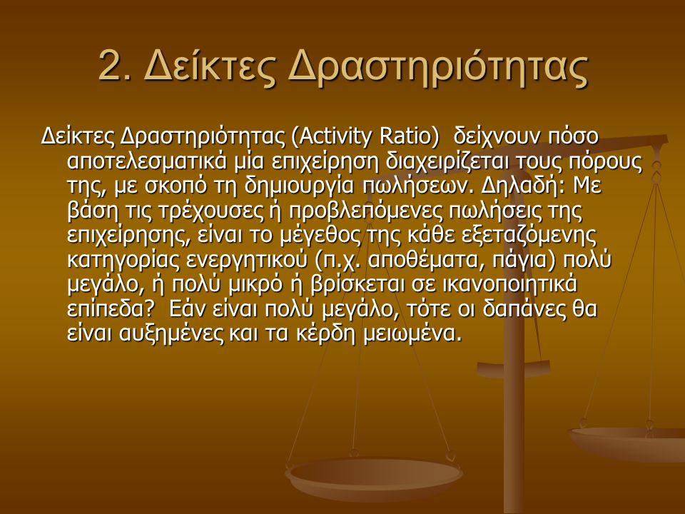 2. Δείκτες Δραστηριότητας Δείκτες Δραστηριότητας (Activity Ratio) δείχνουν πόσο αποτελεσματικά μία επιχείρηση διαχειρίζεται τους πόρους της, με σκοπό