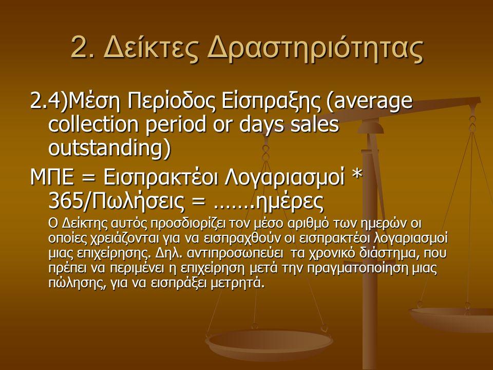 2. Δείκτες Δραστηριότητας 2.4)Μέση Περίοδος Είσπραξης (average collection period or days sales outstanding) ΜΠΕ = Εισπρακτέοι Λογαριασμοί * 365/Πωλήσε