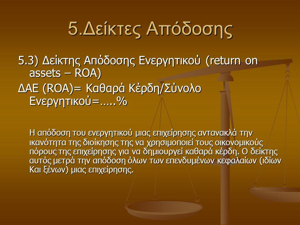 5.Δείκτες Απόδοσης 5.3) Δείκτης Απόδοσης Ενεργητικού (return on assets – ROA) ΔΑΕ (ROA)= Καθαρά Κέρδη/Σύνολο Ενεργητικού=…..% Η απόδοση του ενεργητικο