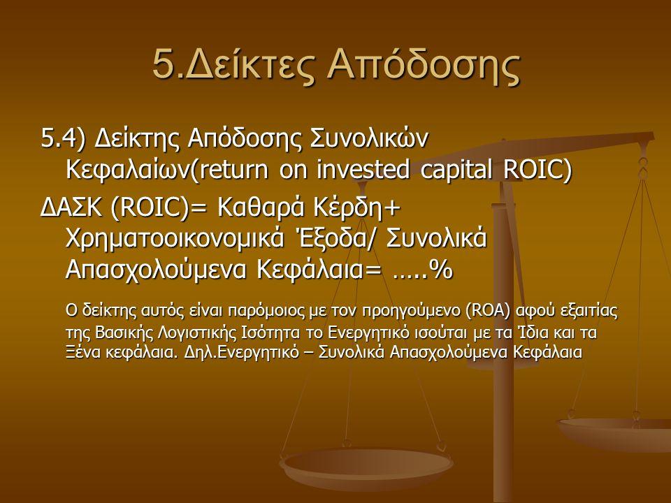 5.Δείκτες Απόδοσης 5.4) Δείκτης Απόδοσης Συνολικών Κεφαλαίων(return on invested capital ROIC) ΔΑΣΚ (ROIC)= Καθαρά Κέρδη+ Χρηματοοικονομικά Έξοδα/ Συνο