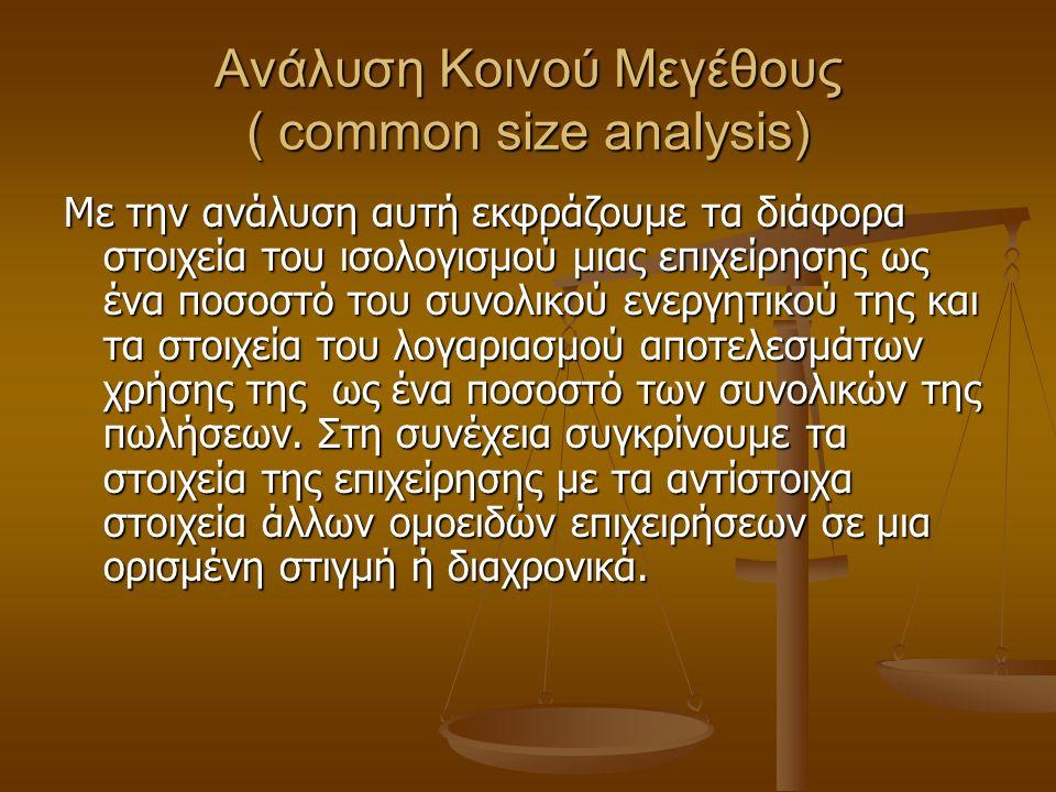 Ανάλυση Κοινού Μεγέθους ( common size analysis) Με την ανάλυση αυτή εκφράζουμε τα διάφορα στοιχεία του ισολογισμού μιας επιχείρησης ως ένα ποσοστό του