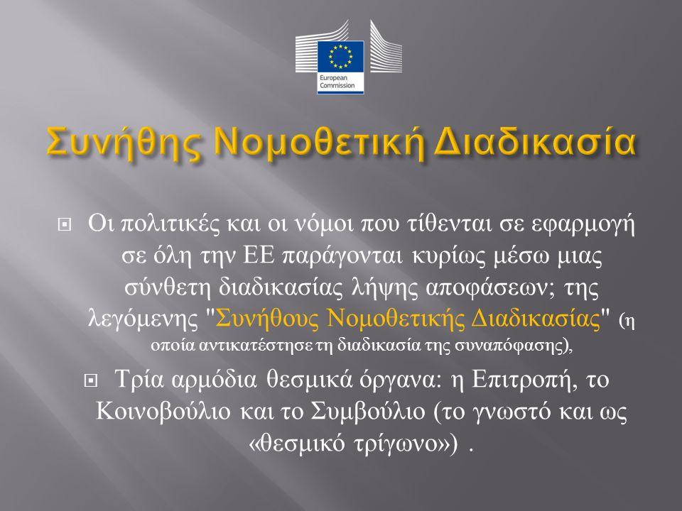  Οι πολιτικές και οι νόμοι που τίθενται σε εφαρμογή σε όλη την ΕΕ παράγονται κυρίως μέσω μιας σύνθετη διαδικασίας λήψης αποφάσεων ; της λεγόμενης Συνήθους Νομοθετικής Διαδικασίας ( η οποία αντικατέστησε τη διαδικασία της συναπόφασης ),  Τρία αρμόδια θεσμικά όργανα : η Επιτροπή, το Κοινοβούλιο και το Συμβούλιο ( το γνωστό και ως « θεσμικό τρίγωνο »).