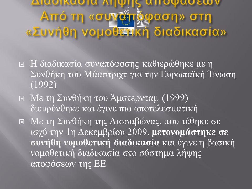  Η διαδικασία συναπόφασης καθιερώθηκε με η Συνθήκη του Μάαστριχτ για την Ευρωπαϊκή Ένωση (1992)  Με τη Συνθήκη του Άμστερνταμ (1999) διευρύνθηκε και έγινε πιο αποτελεσματική  Με τη Συνθήκη της Λισσαβώνας, που τέθηκε σε ισχύ την 1 η Δεκεμβρίου 2009, μετονομάστηκε σε συνήθη νομοθετική διαδικασία και έγινε η βασική νομοθετική διαδικασία στο σύστημα λήψης αποφάσεων της ΕΕ
