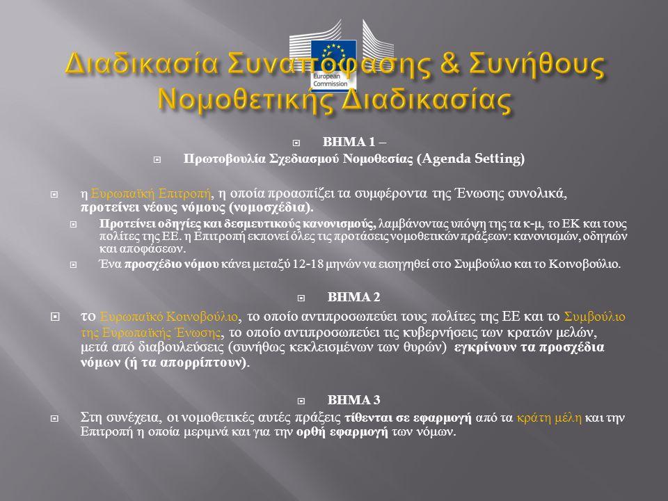  ΒΗΜΑ 1 –  Πρωτοβουλία Σχεδιασμού Νομοθεσίας (Agenda Setting)  η Ευρωπαϊκή Επιτροπή, η οποία προασπίζει τα συμφέροντα της Ένωσης συνολικά, προτείνει νέους νόμους ( νομοσχέδια ).