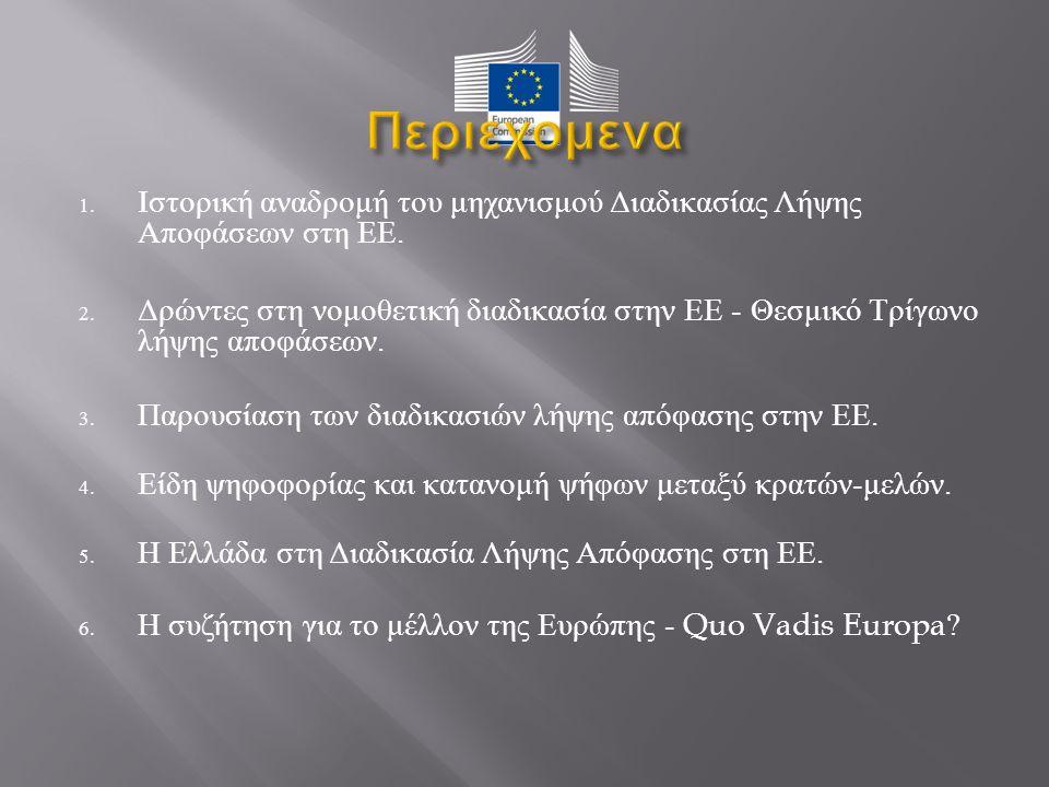 1. Ιστορική αναδρομή του μηχανισμού Διαδικασίας Λήψης Αποφάσεων στη ΕΕ.