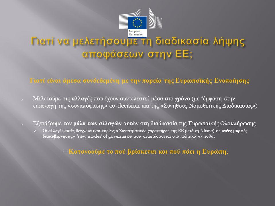Γιατί είναι άμεσα συνδεδεμένη με την πορεία της Ευρωπαϊκής Ενοποίησης o Μελετούμε τις αλλαγές που έχουν συντελεστεί μέσα στο χρόνο ( με ' έμφαση στην εισαγωγή της « συναπόφασης » co-decision και της « Συνήθους Νομοθετικής Διαδικασίας ») o Εξετάζουμε τον ρόλο των αλλαγών αυτών στη διαδικασία της Ευρωπαϊκής Ολοκλήρωσης.