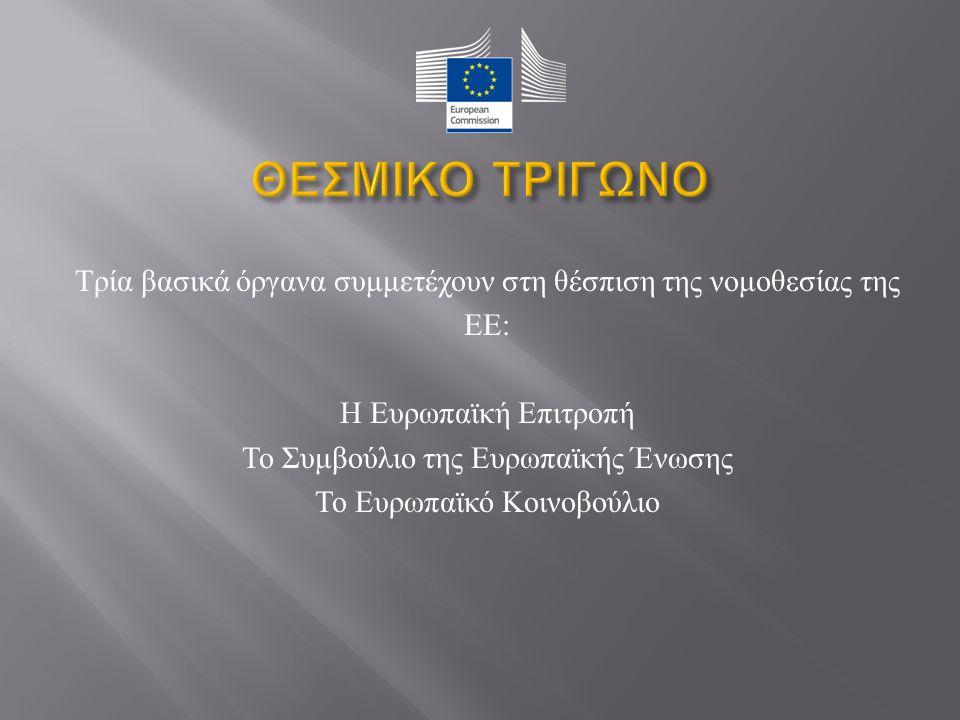Τρία βασικά όργανα συμμετέχουν στη θέσπιση της νομοθεσίας της ΕΕ : Η Ευρωπαϊκή Επιτροπή Το Συμβούλιο της Ευρωπαϊκής Ένωσης Το Ευρωπαϊκό Κοινοβούλιο