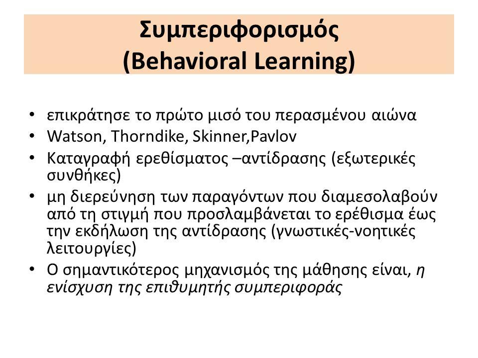 Συμπεριφορισμός (Behavioral Learning) επικράτησε το πρώτο μισό του περασμένου αιώνα Watson, Thorndike, Skinner,Pavlov Καταγραφή ερεθίσματος –αντίδρασης (εξωτερικές συνθήκες) μη διερεύνηση των παραγόντων που διαμεσολαβούν από τη στιγμή που προσλαμβάνεται το ερέθισμα έως την εκδήλωση της αντίδρασης (γνωστικές-νοητικές λειτουργίες) Ο σημαντικότερος μηχανισμός της μάθησης είναι, η ενίσχυση της επιθυμητής συμπεριφοράς
