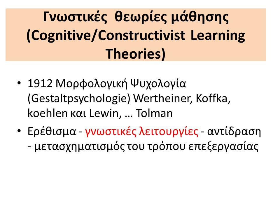 Γνωστικές θεωρίες μάθησης (Cognitive/Constructivist Learning Theories) 1912 Μορφολογική Ψυχολογία (Gestaltpsychologie) Wertheiner, Koffka, koehlen και Lewin, … Tolman Ερέθισμα - γνωστικές λειτουργίες - αντίδραση - μετασχηματισμός του τρόπου επεξεργασίας