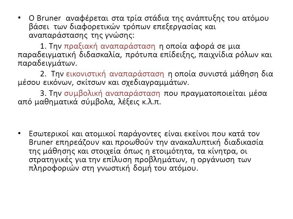 Ο Bruner αναφέρεται στα τρία στάδια της ανάπτυξης του ατόμου βάσει των διαφορετικών τρόπων επεξεργασίας και αναπαράστασης της γνώσης: 1.