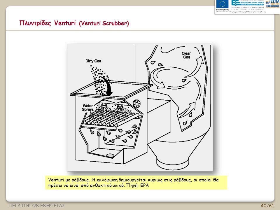 40/61 ΠΕΓΑ ΠΗΓΩΝ ΕΝΕΡΓΕΙΑΣ Πλυντρίδες Venturi (Venturi Scrubber) Venturi με ράβδους. Η εκνέφωση δημιουργείται κυρίως στις ράβδους, οι οποίοι θα πρέπει