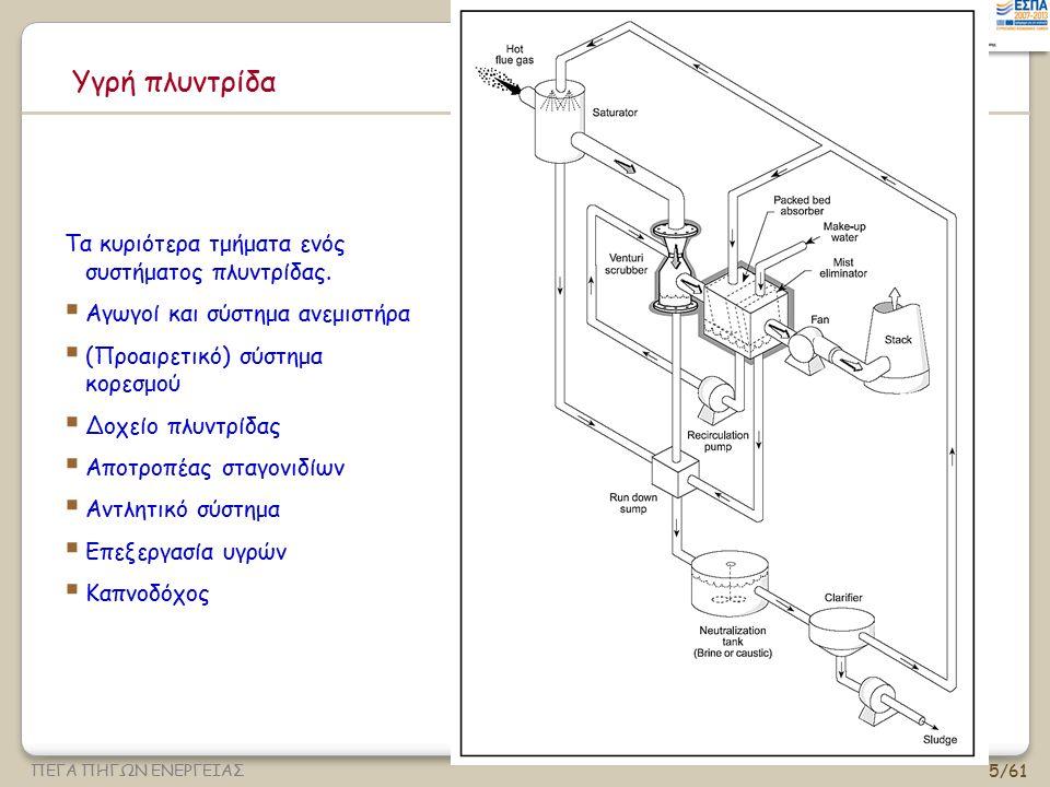 56/61 ΠΕΓΑ ΠΗΓΩΝ ΕΝΕΡΓΕΙΑΣ Πλυντρίδες Venturi : μοντέλο Calvert Η διείσδυση των σωματιδίων σε μία πλυντρίδα venturi, με κυρίαρχο μηχανισμό την πρόσκρουση (Calvert et al, 1972) K po = παράμετρος πρόσκρουσης για ταχύτητα στο λαιμό (=2St με την αεροδυναμική διάμετρο) f = 0,5 για υδρόφιλα υλικά, 0,25 για υδρόφοβα Η παραπάνω εξ.