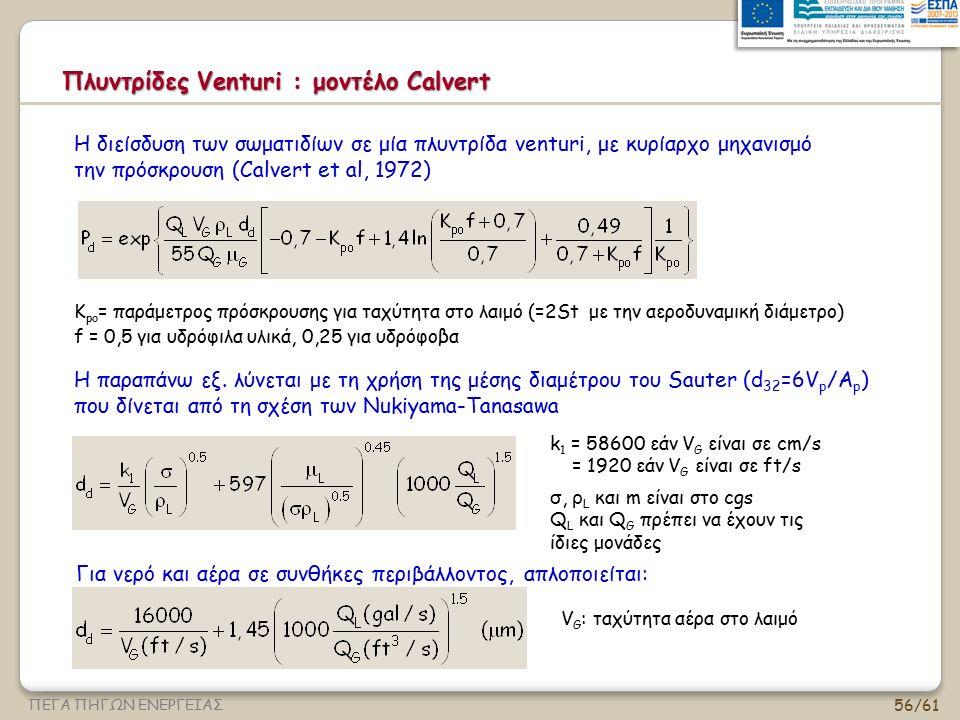 56/61 ΠΕΓΑ ΠΗΓΩΝ ΕΝΕΡΓΕΙΑΣ Πλυντρίδες Venturi : μοντέλο Calvert Η διείσδυση των σωματιδίων σε μία πλυντρίδα venturi, με κυρίαρχο μηχανισμό την πρόσκρο