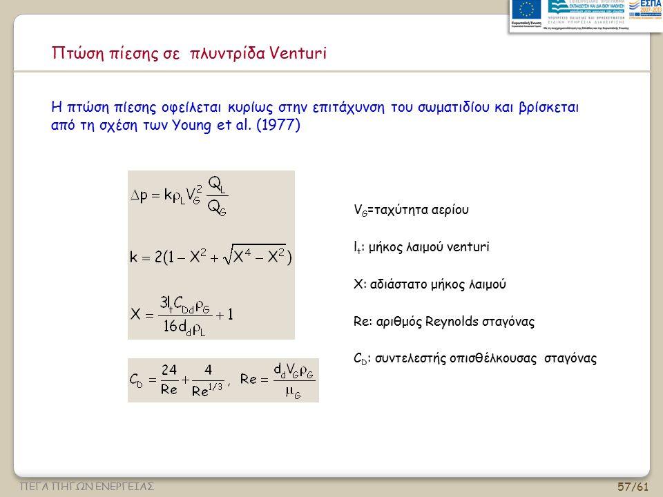 57/61 ΠΕΓΑ ΠΗΓΩΝ ΕΝΕΡΓΕΙΑΣ Πτώση πίεσης σε πλυντρίδα Venturi V G =ταχύτητα αερίου l t : μήκος λαιμού venturi X: αδιάστατο μήκος λαιμού Re: αριθμός Rey