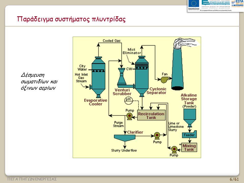 7/61 ΠΕΓΑ ΠΗΓΩΝ ΕΝΕΡΓΕΙΑΣ Εισαγωγή (ΙΙΙ) Σε μία υγρή πλυντρίδα το ρυπασμένο αέριο ρεύμα φέρεται σε επαφή με το μέσο έκπλυσης με ψεκασμό υγρού, με τη διέλευση του μέσω από μία υγρή φάση, με πρόσκρουση σε υγρή επιφάνεια κ.α.