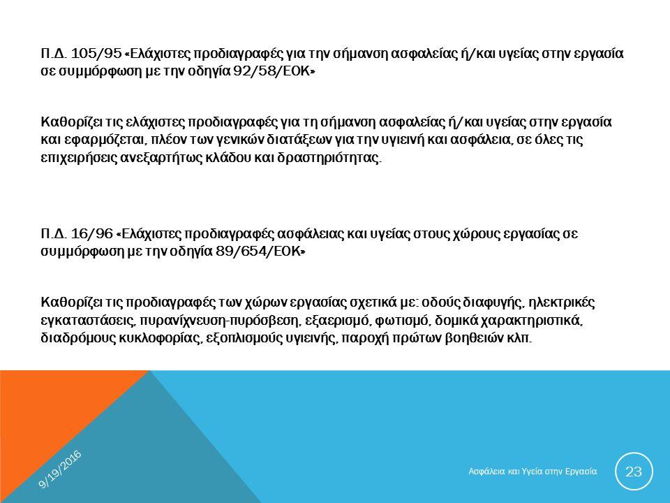 Π.Δ. 105/95 «Ελάχιστες προδιαγραφές για την σήμανση ασφαλείας ή/και υγείας στην εργασία σε συμμόρφωση με την οδηγία 92/58/ΕΟΚ» Καθορίζει τις ελάχιστες