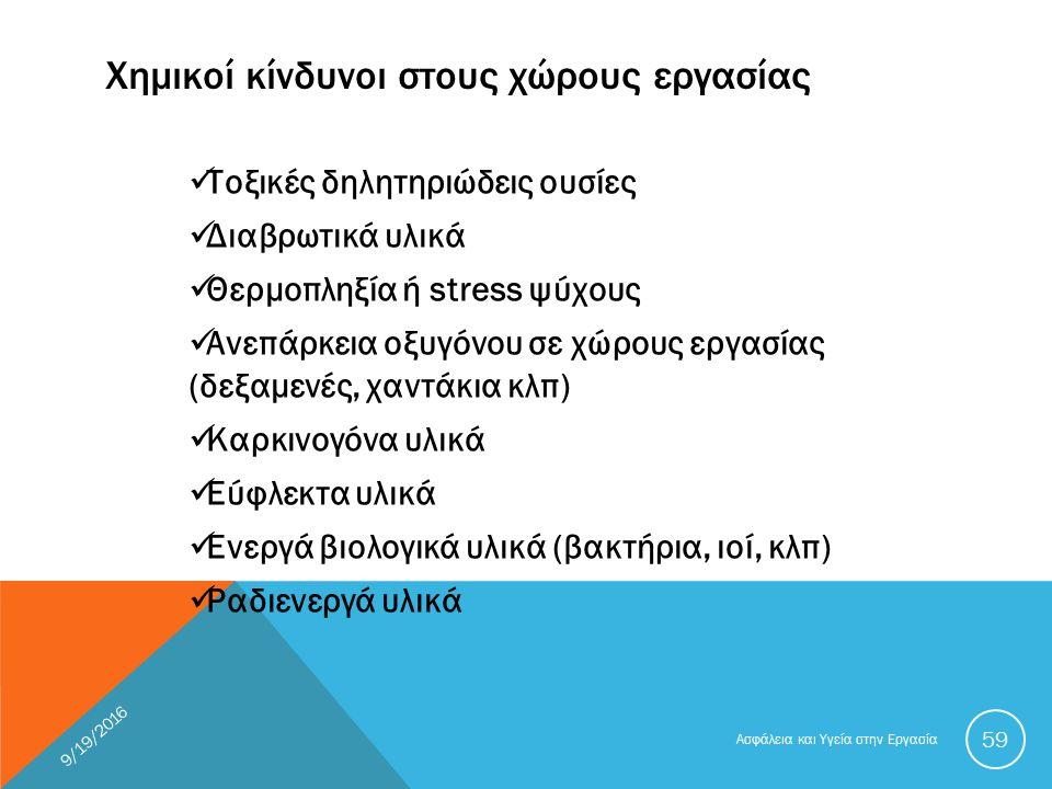 Χημικοί κίνδυνοι στους χώρους εργασίας Τοξικές δηλητηριώδεις ουσίες Διαβρωτικά υλικά Θερμοπληξία ή stress ψύχους Ανεπάρκεια οξυγόνου σε χώρους εργασίας (δεξαμενές, χαντάκια κλπ) Καρκινογόνα υλικά Εύφλεκτα υλικά Ενεργά βιολογικά υλικά (βακτήρια, ιοί, κλπ) Ραδιενεργά υλικά 9/19/2016 Ασφάλεια και Υγεία στην Εργασία 59