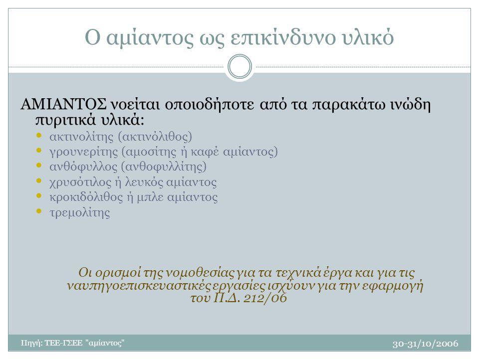 30-31/10/2006 Πηγή: ΤΕΕ-ΓΣΕΕ αμίαντος Ο αμίαντος ως επικίνδυνο υλικό ΑΜΙΑΝΤΟΣ νοείται οποιοδήποτε από τα παρακάτω ινώδη πυριτικά υλικά: ακτινολίτης (ακτινόλιθος) γρουνερίτης (αμοσίτης ή καφέ αμίαντος) ανθόφυλλος (ανθοφυλλίτης) χρυσότιλος ή λευκός αμίαντος κροκιδόλιθος ή μπλε αμίαντος τρεμολίτης Οι ορισμοί της νομοθεσίας για τα τεχνικά έργα και για τις ναυπηγοεπισκευαστικές εργασίες ισχύουν για την εφαρμογή του Π.Δ.
