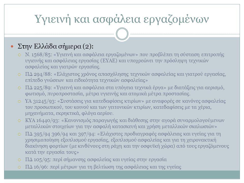 Υγιεινή και ασφάλεια εργαζομένων Στην Ελλάδα σήμερα (2):  Ν.