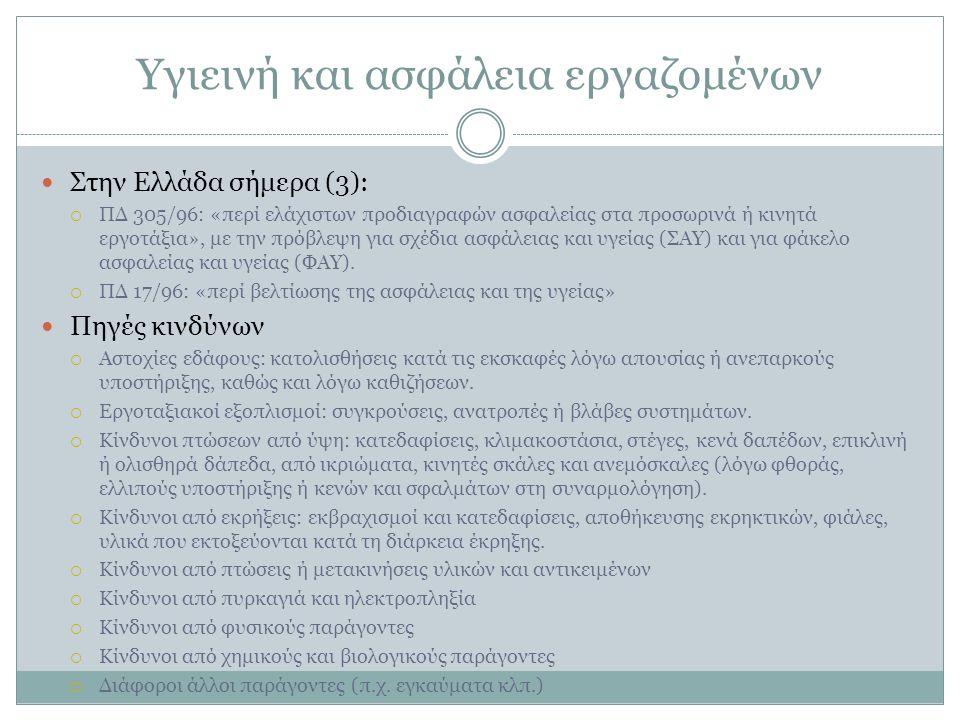 Υγιεινή και ασφάλεια εργαζομένων Στην Ελλάδα σήμερα (3):  ΠΔ 305/96: «περί ελάχιστων προδιαγραφών ασφαλείας στα προσωρινά ή κινητά εργοτάξια», με την πρόβλεψη για σχέδια ασφάλειας και υγείας (ΣΑΥ) και για φάκελο ασφαλείας και υγείας (ΦΑΥ).