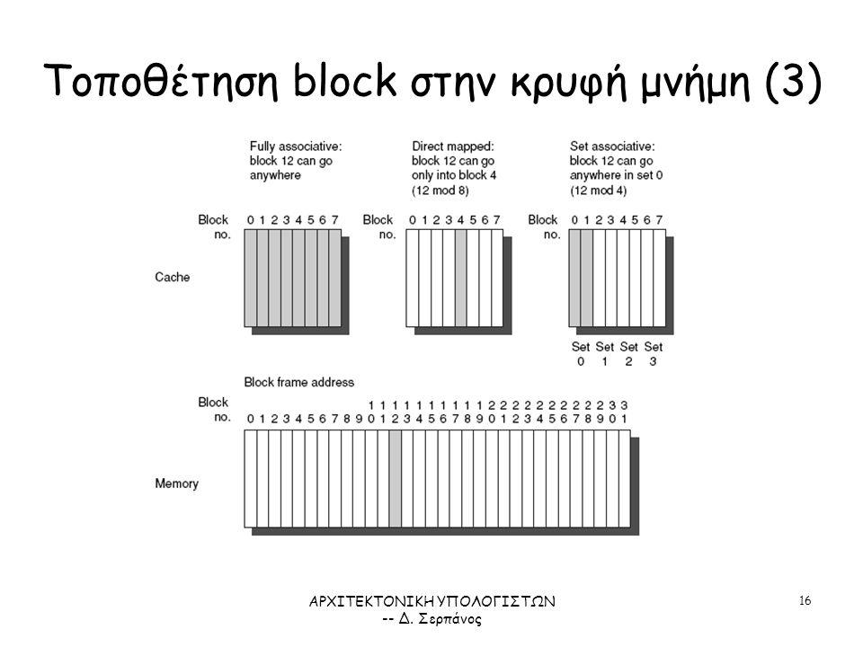 ΑΡΧΙΤΕΚΤΟΝΙΚΗ ΥΠΟΛΟΓΙΣΤΩΝ -- Δ. Σερπάνος 16 Τοποθέτηση block στην κρυφή μνήμη (3) ΣΧΗΜΑ 5.4