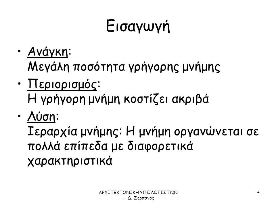 ΑΡΧΙΤΕΚΤΟΝΙΚΗ ΥΠΟΛΟΓΙΣΤΩΝ -- Δ. Σερπάνος 25 Παράδειγμα: Alpha 21264 ΣΧΗΜΑ 5.7