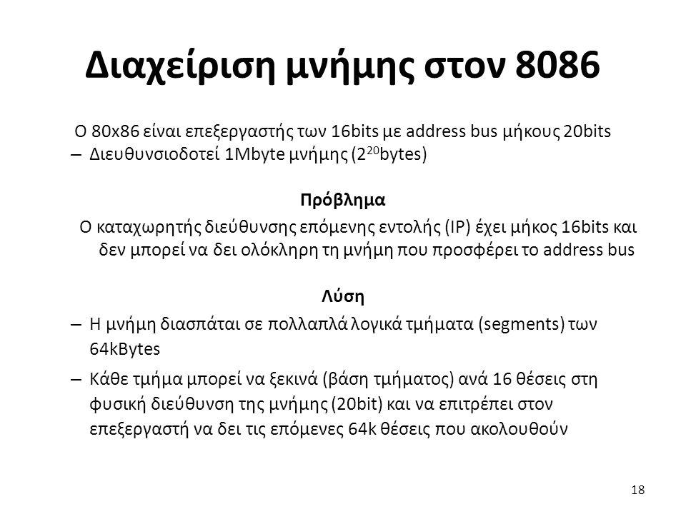 Διαχείριση μνήμης στον 8086 Ο 80x86 είναι επεξεργαστής των 16bits με address bus μήκους 20bits – Διευθυνσιοδοτεί 1Mbyte μνήμης (2 20 bytes) Πρόβλημα Ο