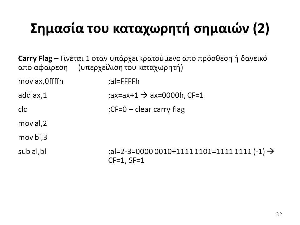 Σημασία του καταχωρητή σημαιών (2) Carry Flag – Γίνεται 1 όταν υπάρχει κρατούμενο από πρόσθεση ή δανεικό από αφαίρεση (υπερχείλιση του καταχωρητή) mov ax,0ffffh;al=FFFFh add ax,1;ax=ax+1  ax=0000h, CF=1 clc;CF=0 – clear carry flag mov al,2 mov bl,3 sub al,bl;al=2-3=0000 0010+1111 1101=1111 1111 (-1)  CF=1, SF=1 32