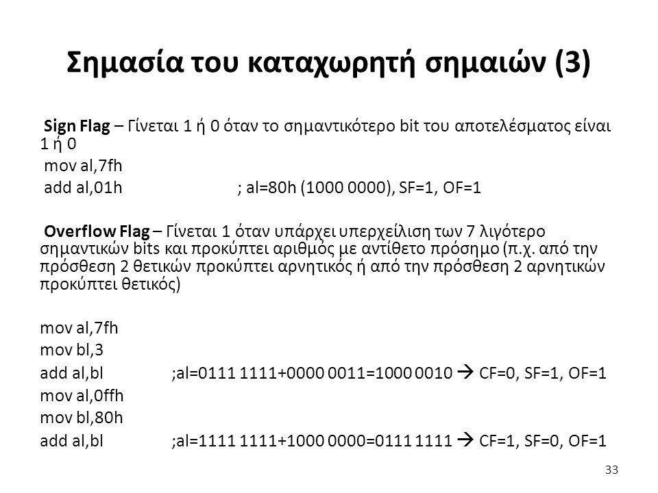 Σημασία του καταχωρητή σημαιών (3) Sign Flag – Γίνεται 1 ή 0 όταν το σημαντικότερο bit του αποτελέσματος είναι 1 ή 0 mov al,7fh add al,01h; al=80h (1000 0000), SF=1, OF=1 Overflow Flag – Γίνεται 1 όταν υπάρχει υπερχείλιση των 7 λιγότερο σημαντικών bits και προκύπτει αριθμός με αντίθετο πρόσημο (π.χ.
