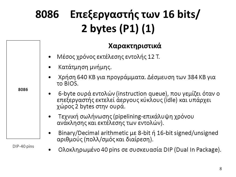 Χαρακτηριστικά Μέσος χρόνος εκτέλεσης εντολής 12 Τ. Κατάτμηση μνήμης. Χρήση 640 ΚΒ για προγράμματα. Δέσμευση των 384 ΚΒ για το BIOS. 6-byte ουρά εντολ