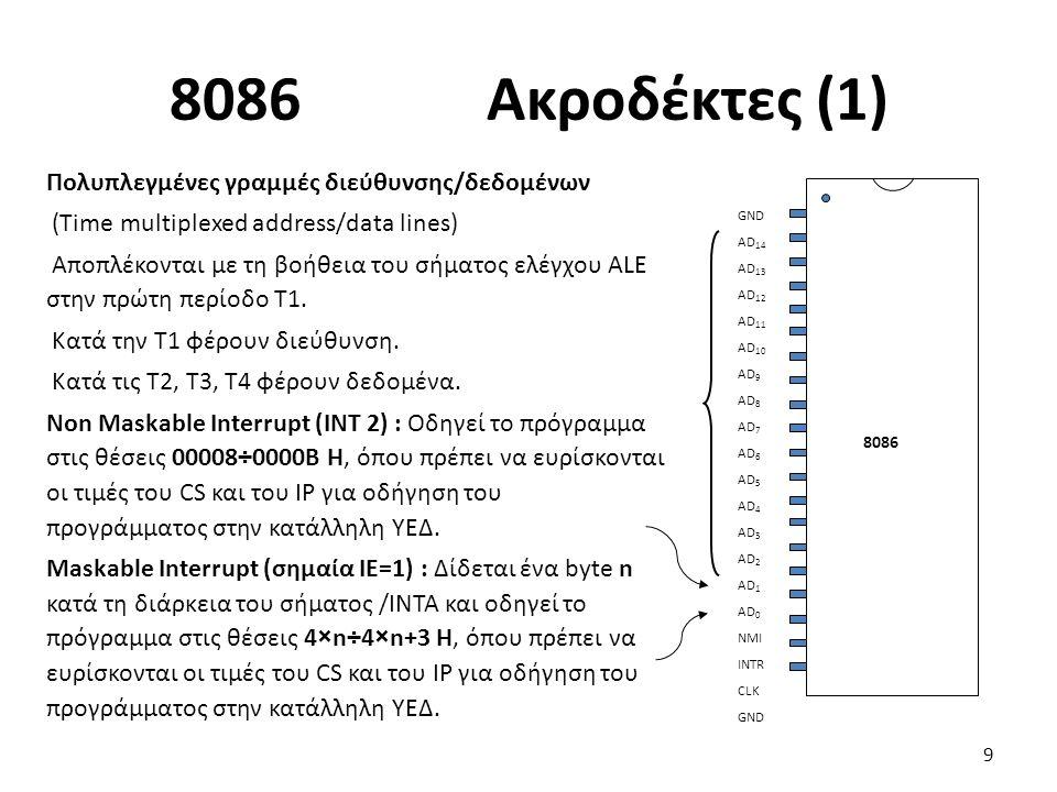 8086 Ακροδέκτες (1) Πολυπλεγμένες γραμμές διεύθυνσης/δεδομένων (Time multiplexed address/data lines) Αποπλέκονται με τη βοήθεια του σήματος ελέγχου ALE στην πρώτη περίοδο Τ1.