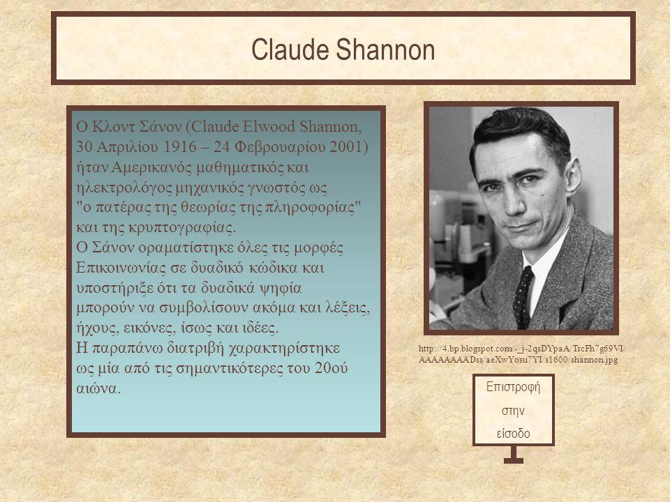 Επιστροφή στην είσοδο Claude Shannon http://4.bp.blogspot.com/-_j-2qsDYpaA/TrcFh7g69VI/ AAAAAAAADss/aeXwYosu7YI/s1600/shannon.jpg O Κλοντ Σάνον (Claude Elwood Shannon, 30 Απριλίου 1916 – 24 Φεβρουαρίου 2001) ήταν Αμερικανός μαθηματικός και ηλεκτρολόγος μηχανικός γνωστός ως ο πατέρας της θεωρίας της πληροφορίας και της κρυπτογραφίας.