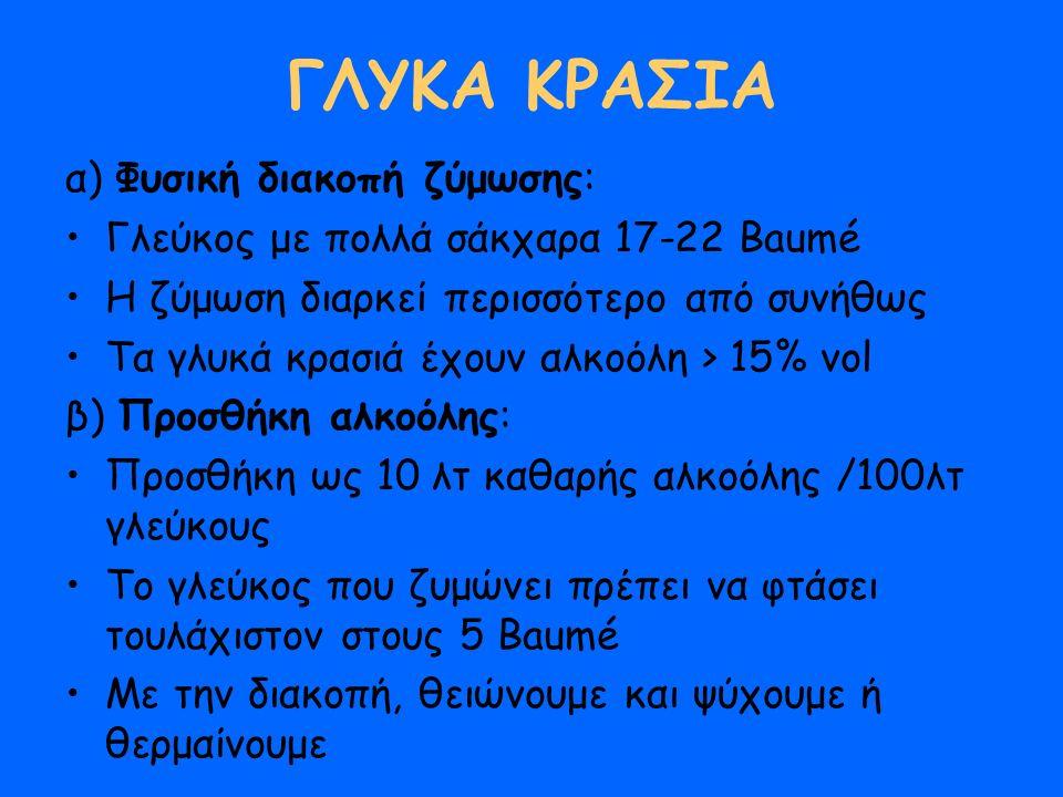 ΓΛΥΚΑ ΚΡΑΣΙΑ α) Φυσική διακοπή ζύμωσης: Γλεύκος με πολλά σάκχαρα 17-22 Βaumé Η ζύμωση διαρκεί περισσότερο από συνήθως Τα γλυκά κρασιά έχουν αλκοόλη > 15% vol β) Προσθήκη αλκοόλης: Προσθήκη ως 10 λτ καθαρής αλκοόλης /100λτ γλεύκους Το γλεύκος που ζυμώνει πρέπει να φτάσει τουλάχιστον στους 5 Βaumé Με την διακοπή, θειώνουμε και ψύχουμε ή θερμαίνουμε
