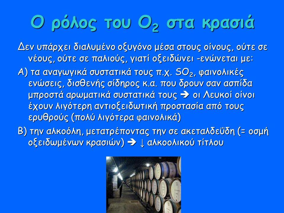 Ο ρόλος του Ο 2 στα κρασιά Δεν υπάρχει διαλυμένο οξυγόνο μέσα στους οίνους, ούτε σε νέους, ούτε σε παλιούς, γιατί οξειδώνει -ενώνεται με: Α) τα αναγωγικά συστατικά τους π.χ.