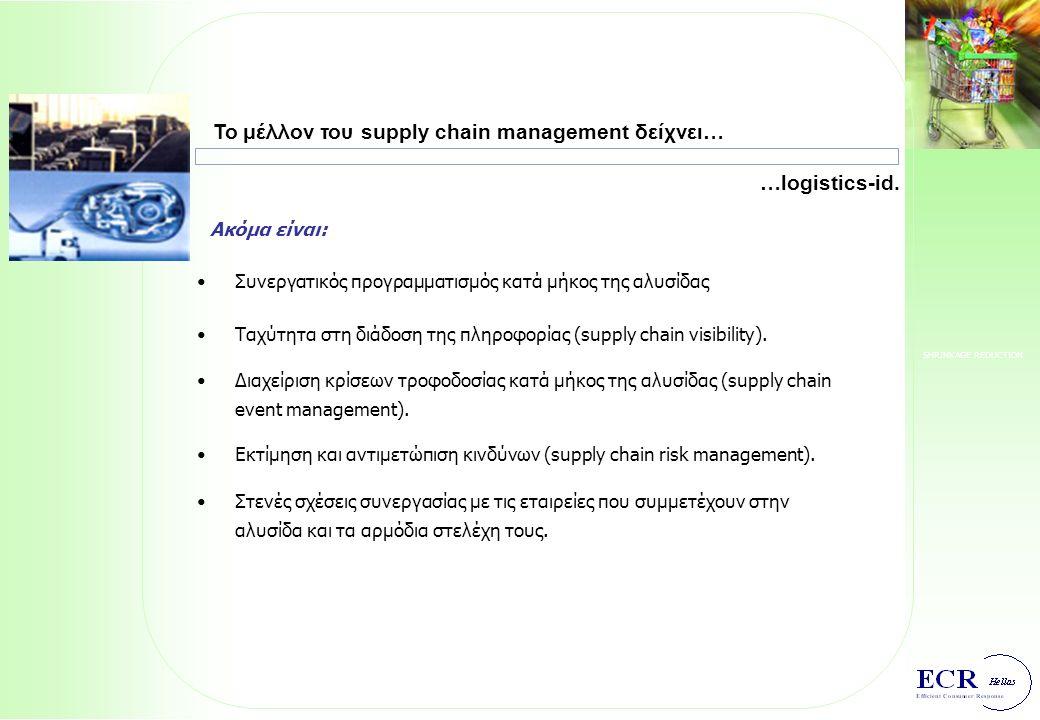 SHRINKAGE REDUCTION Το πραγματικό αντικείμενο του supply chain management είναι: Διαμόρφωση και υλοποίηση supply chain στρατηγικών για: προμηθευτές, διαχειριστικά συστήματα, γεωγραφική κατανομή των operations, επενδύσεις σε πάγια, μηχανογραφική υποστήριξη, outsourcing, segmentation της αγοράς ως προς αναμενόμενο από αυτήν service level μίγμα υπηρεσιών customer service για κάθε segment.
