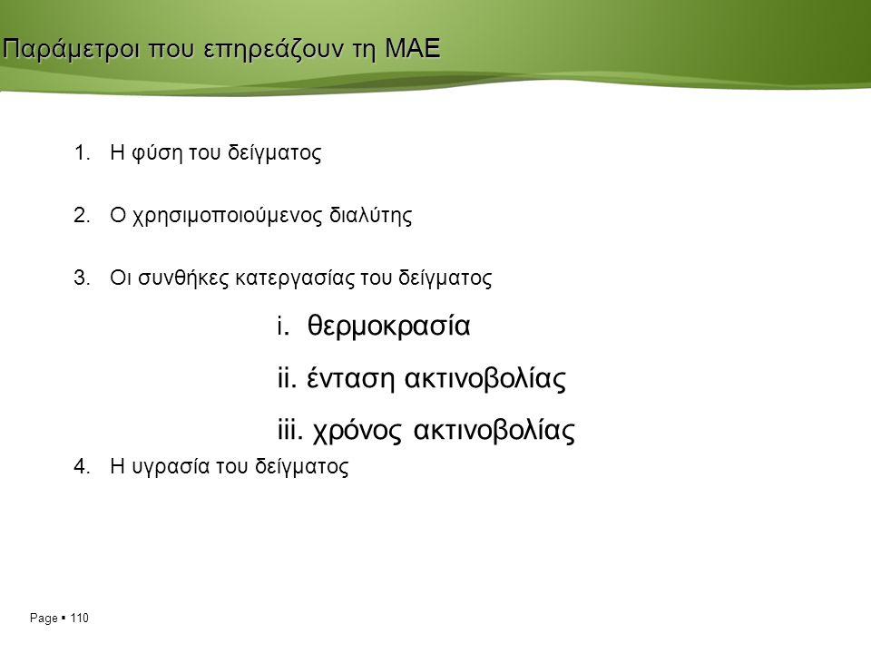 Page  110 Παράμετροι που επηρεάζουν τη ΜΑΕ 1. Η φύση του δείγματος 2.