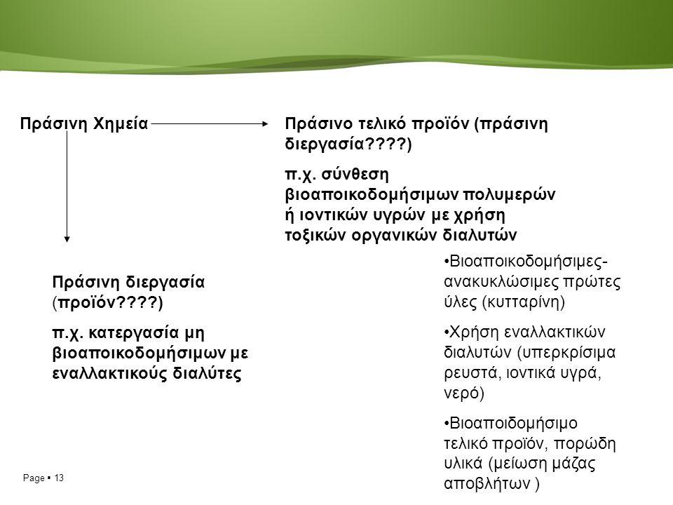 Page  13 Πράσινη ΧημείαΠράσινο τελικό προϊόν (πράσινη διεργασία ) π.χ.