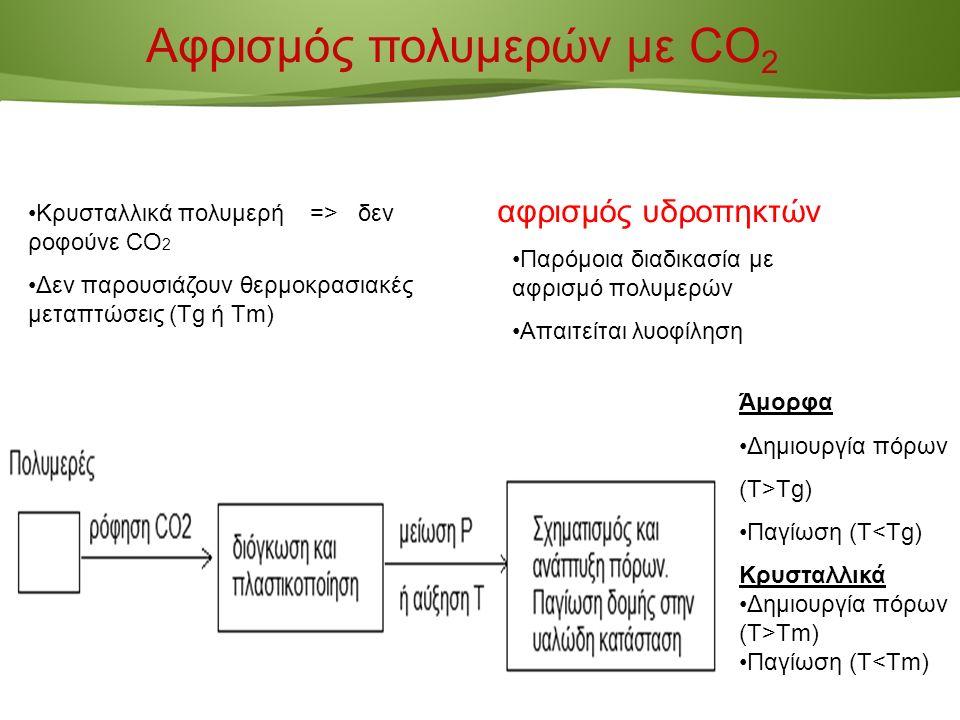 Page  18 Άμορφα Δημιουργία πόρων (T>Τg) Παγίωση (Τ<Tg) Κρυσταλλικά Δημιουργία πόρων (T>Τm) Παγίωση (Τ<Tm) Κρυσταλλικά πολυμερή => δεν ροφούνε CO 2 Δεν παρουσιάζουν θερμοκρασιακές μεταπτώσεις (Tg ή Tm) Αφρισμός πολυμερών με CO 2 Παρόμοια διαδικασία με αφρισμό πολυμερών Απαιτείται λυοφίληση αφρισμός υδροπηκτών