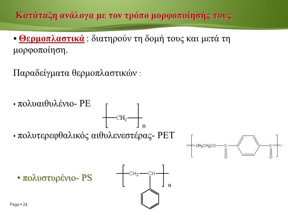 Page  24 Κατάταξη ανάλογα με τον τρόπο μορφοποίησής τους Κατάταξη ανάλογα με τον τρόπο μορφοποίησής τους  Θερμοπλαστικά : διατηρούν τη δομή τους και μετά τη μορφοποίηση.