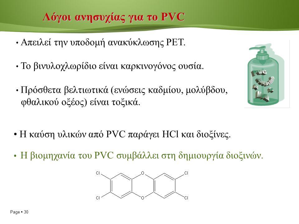 Page  30 Λόγοι ανησυχίας για το PVC Λόγοι ανησυχίας για το PVC Απειλεί την υποδομή ανακύκλωσης ΡΕΤ.