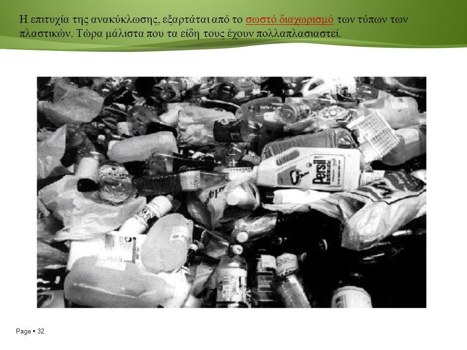 Page  32 Η επιτυχία της ανακύκλωσης, εξαρτάται από το σωστό διαχωρισμό των τύπων των πλαστικών.