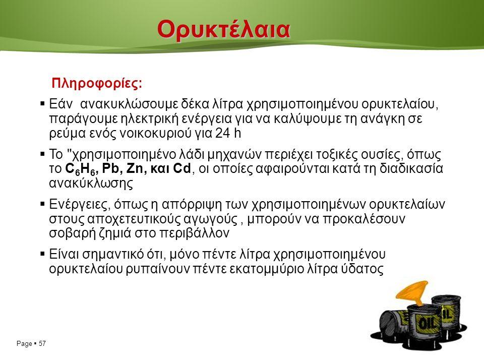 Page  57Ορυκτέλαια Πληροφορίες:  Εάν ανακυκλώσουμε δέκα λίτρα χρησιμοποιημένου ορυκτελαίου, παράγουμε ηλεκτρική ενέργεια για να καλύψουμε τη ανάγκη σε ρεύμα ενός νοικοκυριού για 24 h  Το χρησιμοποιημένο λάδι μηχανών περιέχει τοξικές ουσίες, όπως το C 6 H 6, Pb, Zn, και Cd, οι οποίες αφαιρούνται κατά τη διαδικασία ανακύκλωσης  Ενέργειες, όπως η απόρριψη των χρησιμοποιημένων ορυκτελαίων στους αποχετευτικούς αγωγούς, μπορούν να προκαλέσουν σοβαρή ζημιά στο περιβάλλον  Είναι σημαντικό ότι, μόνο πέντε λίτρα χρησιμοποιημένου ορυκτελαίου ρυπαίνουν πέντε εκατομμύριο λίτρα ύδατος